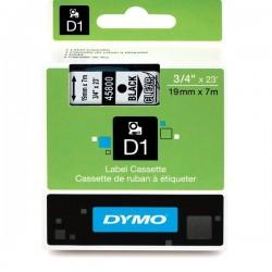 Dymo taśma do drukarek etykiet, D1 45800 | 19mm x 7m | czarny / przezroczysty